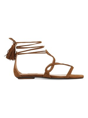 Aquazzura 10mm gitana suede flat sandals