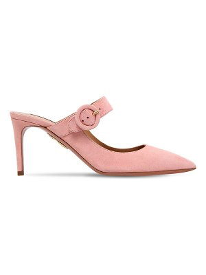 Aquazzura 75mm blossom suede buckled mules