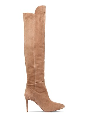 Aquazzura 85mm suede over the knee boots