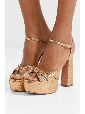 Aquazzura baba plateau metallic cracked-leather platform sandals