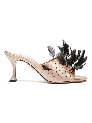 Aquazzura bird of paradise 75 feather and satin mules