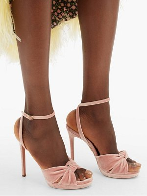 Aquazzura chance knotted velvet sandals