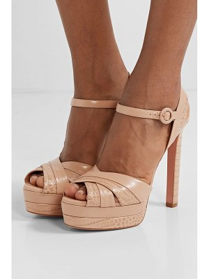 Aquazzura coquette 140 croc-effect leather platform sandals