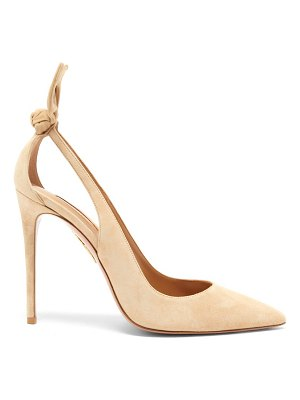 Aquazzura deneuve 105 bow-embellished suede pumps