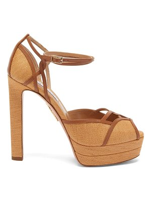 Aquazzura dolores 130 leather-trim canvas platform sandals