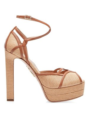 Aquazzura dolores leather-trimmed raffia platform sandals