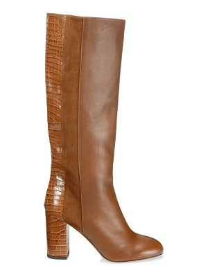 Aquazzura eaton knee-high croc-embossed leather & suede boots