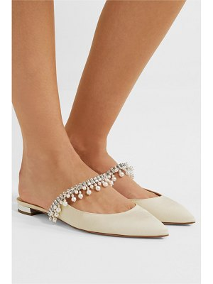 Aquazzura exquisite faux pearl and crystal-embellished grosgrain slippers