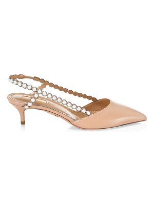 Aquazzura pearl leather slingback pumps