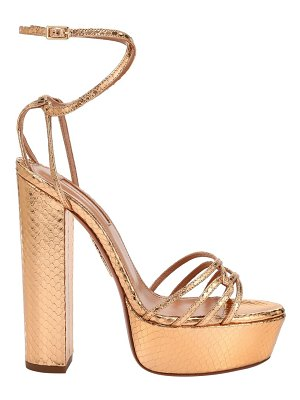 Aquazzura first kiss metallic snakeskin-embossed leather platform sandals