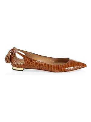 Aquazzura forever marilyn cutout croc-embossed leather ballet flats