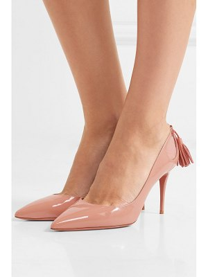 Aquazzura forever marilyn cutout tasseled patent-leather pumps