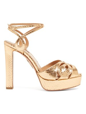 Aquazzura gardena 120 platform metallic-leather sandals