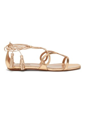 Aquazzura gitana 85 metallic python-effect leather sandals