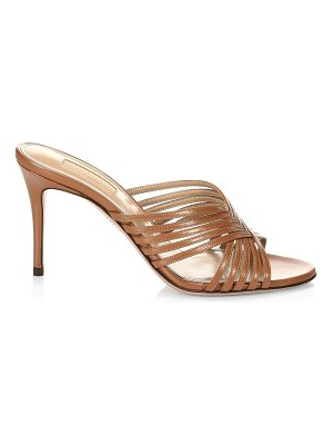 Aquazzura hydra woven patent leather mules