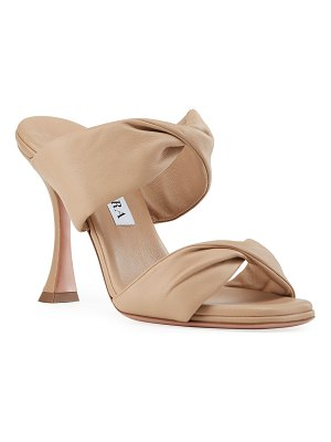 Aquazzura Leather Twist Heel Slide Sandals