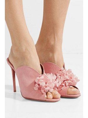 Aquazzura lily of the valley appliquéd suede mules