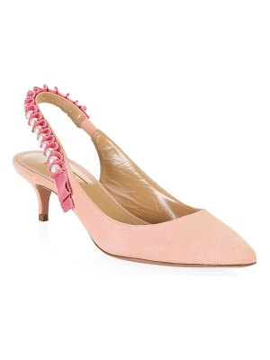 Aquazzura love story suede slingback pumps