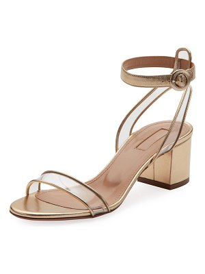 Aquazzura Minimalist Metallic Block-Heel Sandals