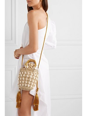Aquazzura le ninè riviera mini tasseled embellished raffia and canvas tote