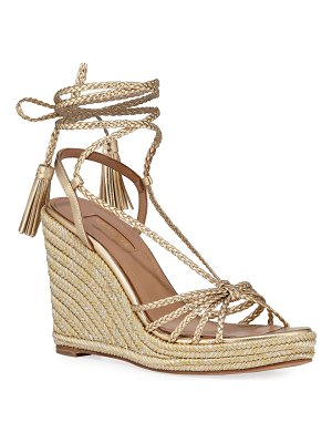 Aquazzura Savannah Metallic Wedge Espadrilles