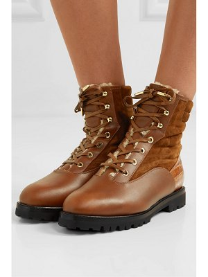 Aquazzura shearling-lined leather and suede ankle boots