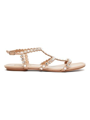Aquazzura tequila crystal-embellished t-bar leather sandals