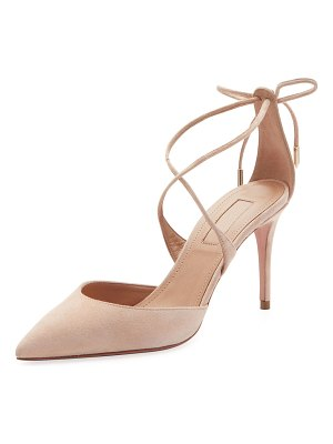 Aquazzura Very Matilde Suede Crisscross Pumps