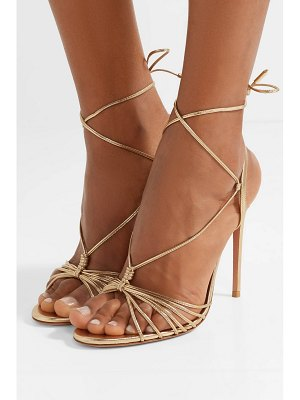 Aquazzura whisper 105 lace-up metallic leather sandals