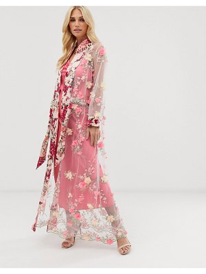 Aratta maxi kimono in sheer 3d embroidered mesh with ribbon tie-pink