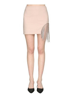 Area Bonded wool mini skirt w/ crystal fringe