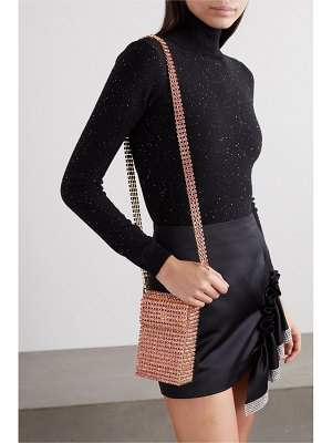 Area crystal flapper embellished gold-tone shoulder bag