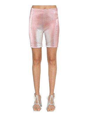 Area Stretch lamé biker shorts