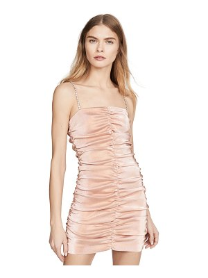 Area stretch lamé shirred mini dress