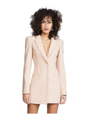 Area wool bonded suiting crystal stripe blazer dress
