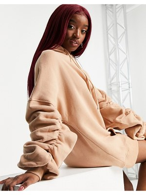 Aria Cove oversized hoodie sweats dress with ruched sleeve detail in mocha-neutral