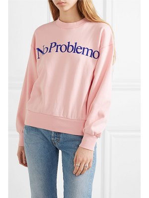 ARIES no problemo flocked cotton-fleece sweatshirt