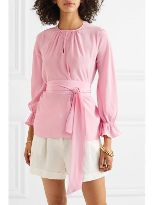 ARoss Girl x Soler amanda belted silk crepe de chine top