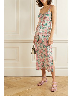 Art Dealer belted floral-print silk-blend georgette midi dress