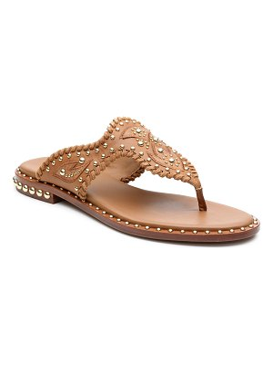Ash Phedra Studded Topstitch Thong Sandals