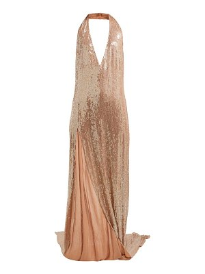 ASHISH chandra halterneck sequinned dress