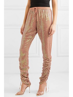 ASHISH ruched sequined georgette tapered pants