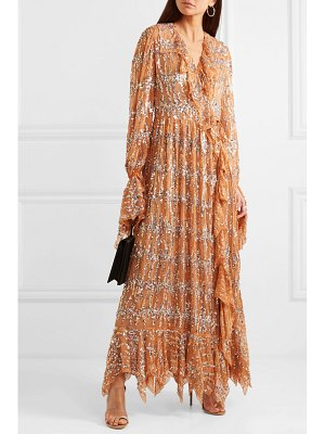 ASHISH ruffled sequin-embellished chiffon wrap maxi dress