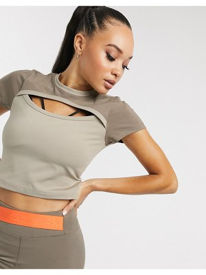 Asos 4505 crop cut out tee-stone