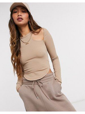 Asos 4505 long sleeve t-shirt with shoulder cutout detail-brown