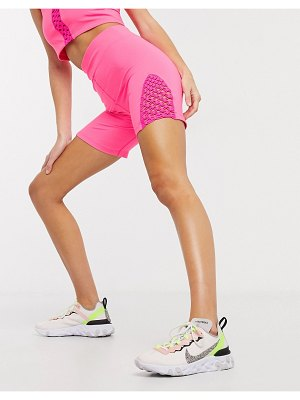 Asos 4505 macrame side detail yoga short-pink