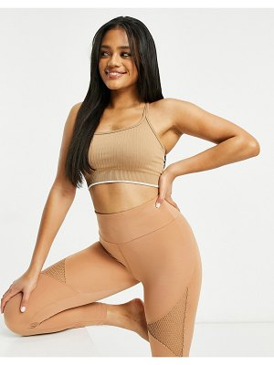 Asos 4505 seamless ribbed sports bra with double strap-stone