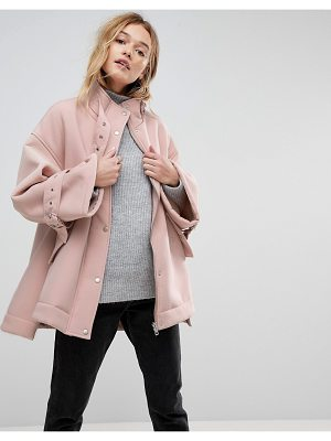 ASOS DESIGN bonded jacket with fleece lining and metalwear-pink