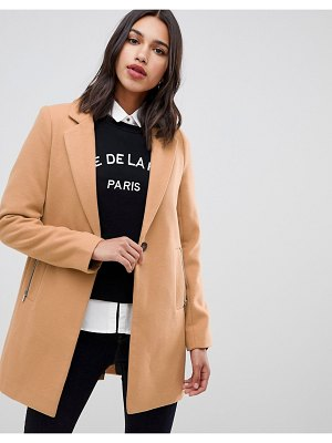 ASOS DESIGN boyfriend coat with zip pocket-cream