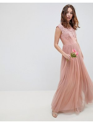 ASOS DESIGN embroidered mesh maxi dress